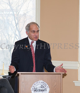 Orange County Democratic Commitee Chairman Jonathan Jacobson addresses those gathered for the swearing-in of new council members at Newburgh's City Hall on Saturday, January 11, 2014. Hudson Valley Press/CHUCK STEWART, JR.