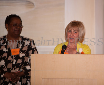 Patricia Fayo offers remarks after receiving the Orange County Human Rights Commission 2014 Award during a dinner on Thursday, April 10, 2014 at The Fountains in Middletown, NY. Hudson Valley Press/CHUCK STEWART, JR.