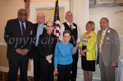 Orange County Human Rights Commission Chair Fred Cook with honorees Rev. Stephen Ruelke, Glenn and Susan Dickes, Daniel Hutting, Patricia Fayo and Amado Valdes at the Orange County Human Rights Commission 2014 Awards Dinner held on Thursday, April 10, 2014 at The Fountains in Middletown, NY. Hudson Valley Press/CHUCK STEWART, JR.