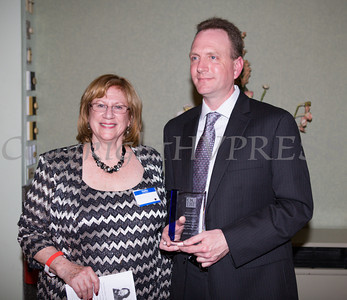 Former OC Commissioner of Social Services David Jolly received the Geraldine Ferraro Public Service Award from OCDW President Willa Freiband at the Orange County Democratic Women 2014 Gala Dinner on Saturday, April 26, 2014 at the Meadowbrook Lodge in New Windsor, NY. Hudson Valley Press/CHUCK STEWART, JR.