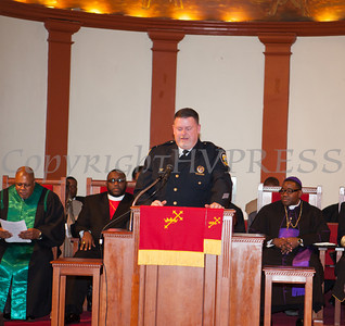 Rev. Dr. Erik Maurice Pogue was installed as the new pastor of New Hope Missionary Baptist Church on Sunday, March 30, 2014 in Newburgh, NY. Hudson Valley Press/CHUCK STEWART, JR.