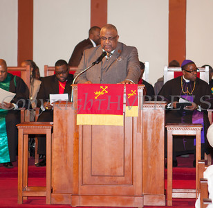 Rev. Dr. Ronald Perry offers the Invocation as Rev. Dr. Erik Maurice Pogue was installed as the new pastor of New Hope Missionary Baptist Church on Sunday, March 30, 2014 in Newburgh, NY. Hudson Valley Press/CHUCK STEWART, JR.