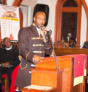 Rev. Dr. Erik Maurice Pogue offers his Pastoral Response after he was installed as the new pastor of New Hope Missionary Baptist Church on Sunday, March 30, 2014 in Newburgh, NY. Hudson Valley Press/CHUCK STEWART, JR.