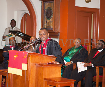 Rev. Roderick P. McArthur offers the Sermon as Rev. Dr. Erik Maurice Pogue was installed as the new pastor of New Hope Missionary Baptist Church on Sunday, March 30, 2014 in Newburgh, NY. Hudson Valley Press/CHUCK STEWART, JR.