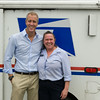 "US Rep Sean Patrick Maloney poses with US Postal employee Alayne Keiser during the ""Speak with Sean"" series, his local neighborhood office hours, in New Windsor, NY on Saturday, July 19, 2014. Hudson Valley Press/CHUCK STEWART, JR."