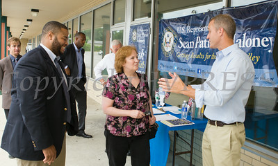 "US Rep Sean Patrick Maloney (right) and Oscar Dunham (left) speak with Lorraine McNeill during his ""Speak with Sean"" series, his local neighborhood office hours, in New Windsor, NY on Saturday, July 19, 2014 . Hudson Valley Press/CHUCK STEWART, JR."