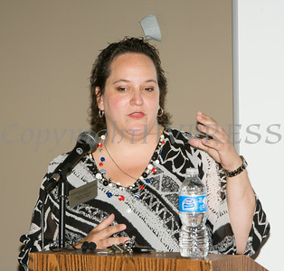 Laurie Tautel, Chief of Staff for Assemblyman James Skoufis, offers remarks to those gathered at the U.S. Citizenship and Immigration Services Customer Service Center open house at the Newburgh Armory Unity Center on Saturday, July 12, 2014 in Newburgh, NY. Hudson Valley Press/CHUCK STEWART, JR.