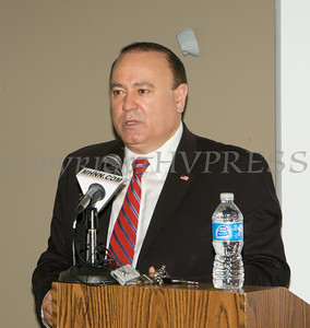 Assemblyman Frank Skartados offers remarks to those gathered at the U.S. Citizenship and Immigration Services Customer Service Center open house at the Newburgh Armory Unity Center on Saturday, July 12, 2014 in Newburgh, NY. Hudson Valley Press/CHUCK STEWART, JR.