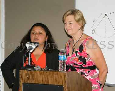 Newburgh Councilwoman Karen Mejia and Mayor Judy Kennedy offer remarks to those gathered at the U.S. Citizenship and Immigration Services Customer Service Center open house at the Newburgh Armory Unity Center on Saturday, July 12, 2014 in Newburgh, NY. Hudson Valley Press/CHUCK STEWART, JR.