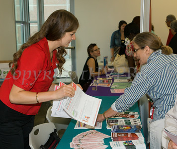"Katherine Venable of the Greater Hudson Valley Family Health Center hands out literature at US Rep Sean Patrick Maloney's ""When Women Succeed, America Succeeds"" Forum and Resource Fair Saturday, July 26 at the Orange County Emergency Services Center in Goshen, NY. Hudson Valley Press/CHUCK STEWART, JR."
