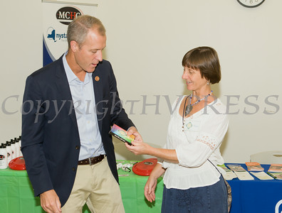 "US Rep Sean Patrick Maloney speaks with Maria Blon after he hosted ""When Women Succeed, America Succeeds"" Forum and Resource Fair Saturday, July 26 at the Orange County Emergency Services Center in Goshen, NY. Hudson Valley Press/CHUCK STEWART, JR."