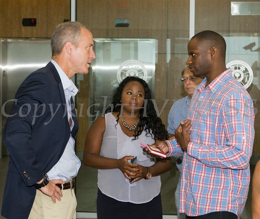 """US Rep Sean Patrick Maloney speaks with Azriel Alleyne after he hosted """"When Women Succeed, America Succeeds"""" Forum and Resource Fair Saturday, July 26 at the Orange County Emergency Services Center in Goshen, NY. Hudson Valley Press/CHUCK STEWART, JR."""