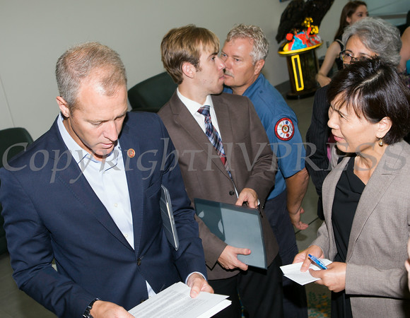 "US Rep Sean Patrick Maloney speaks with Janet Xiong after he hosted ""When Women Succeed, America Succeeds"" Forum and Resource Fair Saturday, July 26 at the Orange County Emergency Services Center in Goshen, NY. Hudson Valley Press/CHUCK STEWART, JR."