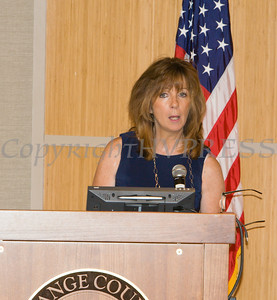 "Ann Marie Maglione, Director of the OC Office for the Aging, offers remarks to those present for US Rep Sean Patrick Maloney's ""When Women Succeed, America Succeeds"" Forum and Resource Fair Saturday, July 26 at the Orange County Emergency Services Center in Goshen, NY. Hudson Valley Press/CHUCK STEWART, JR."