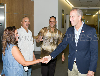 "US Rep Sean Patrick Maloney greets people after he hosted ""When Women Succeed, America Succeeds"" Forum and Resource Fair Saturday, July 26 at the Orange County Emergency Services Center in Goshen, NY. Hudson Valley Press/CHUCK STEWART, JR."