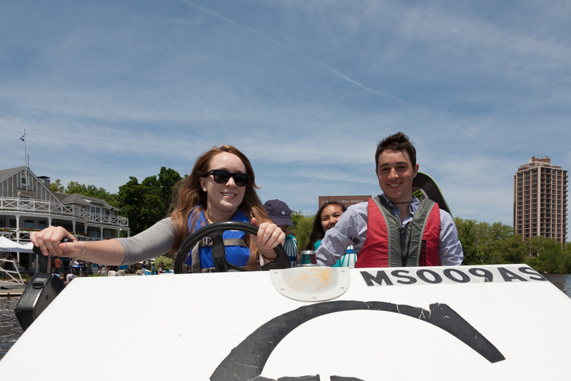 Isabel and Benjamin in the launch