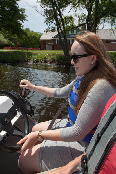 Isabel driving the launch