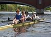 Four setting off - Colin, Noa, Benjamin, coach Kate, Olivia (cox)