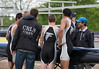 Boys Second Varsity Four huddling before the race