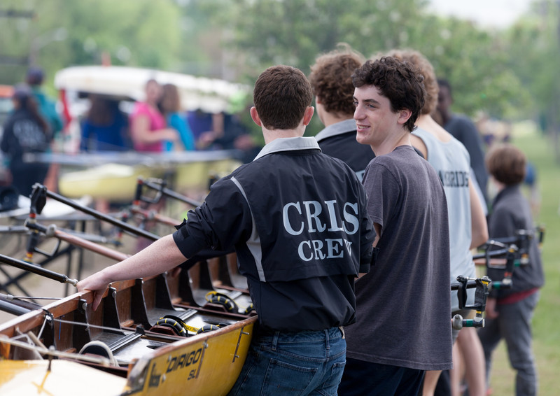 Boys Novice Eight, hands on boat