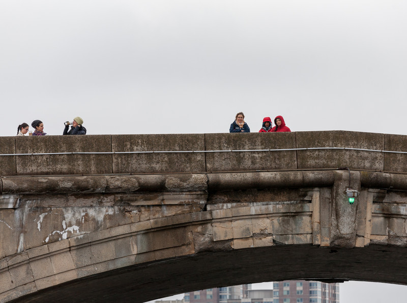 Parents watching from the bridge