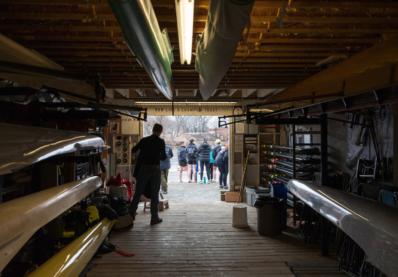 "Inside the boat bay looking out: ""Row Like a Champion Today"""