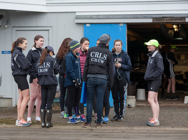 Girls team by the boat bay