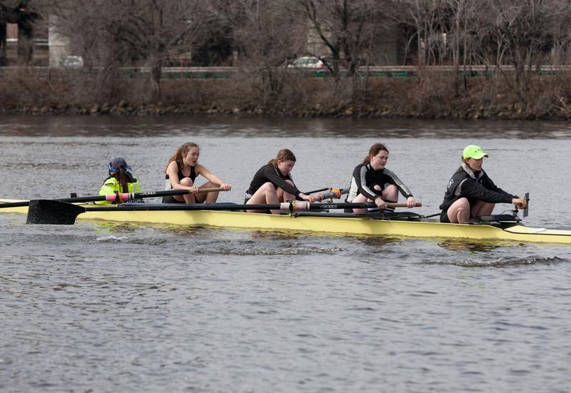 Girls 2V racing: Katy (cox), Francesca, Miranda, Emily, and Caroline