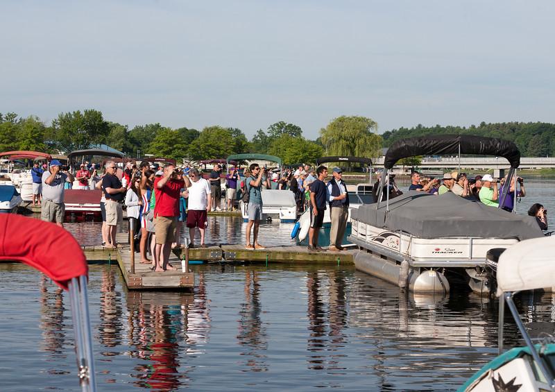Spectators on floating docks (bouncy!)