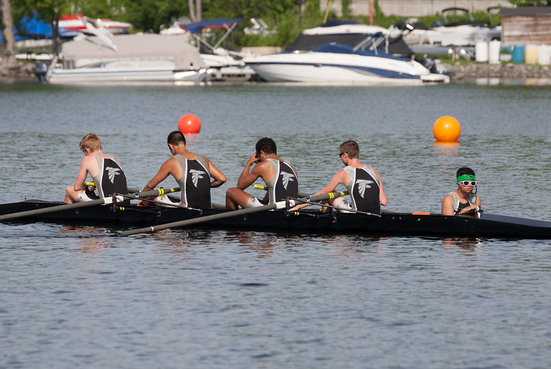 Boys 2V after the race - Zach, Alex, Jordan, Simon, and Susmit (cox)
