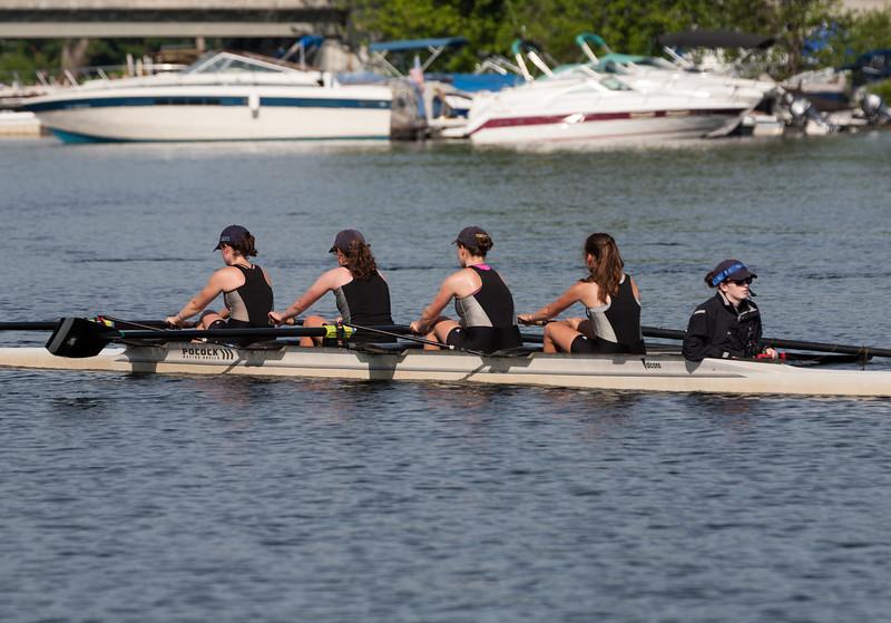 Girls Varsity returning from racing - Olivia, Eva, Noa, Francesca, and Anna (cox)