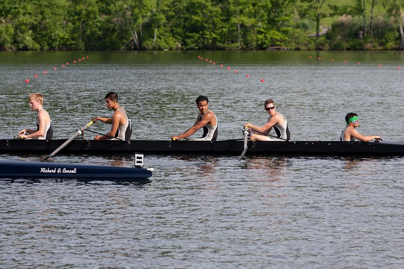 Boys 2V returning from the race - Zach, Alex, Jordan, Simon, and Susmit (cox)