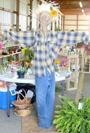 This scarecrow stood guard over a table full of flower entries waiting to be judged. He also would get a turn under the judges' scrutiny. Did he win a ribbon? Visit the Lawrence County Fair this week to see for yourself. — Mitchel Olszak