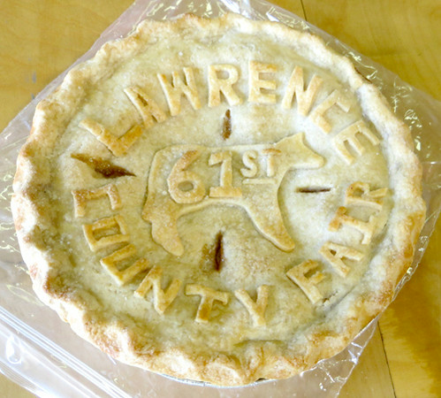 This entry in the apple pie contest featured an elaborate crust paying tribute to the Lawrence County Fair. It was created by Brenda Raney of Enon Valley. — Mitchel Olszak