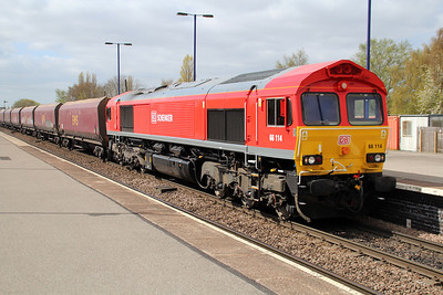 DB Liveried 66114 1216/4R15 Milford-Immingham passes Barnetby,
