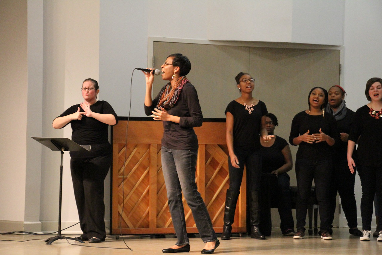 Joyful Hands puts on a Megabash benefit concert including performances by Joyful Hands, Heart of Fire dance ministry, and the Gospel Choir. The Gospel Choir performs their set.