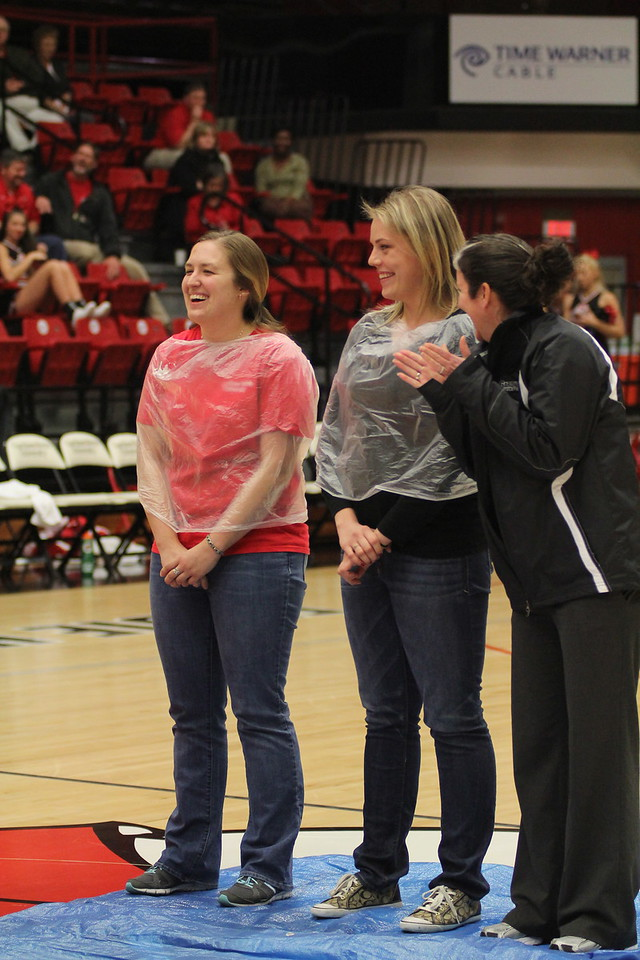 During halftime, 2 athletics trainers were pied in the face.