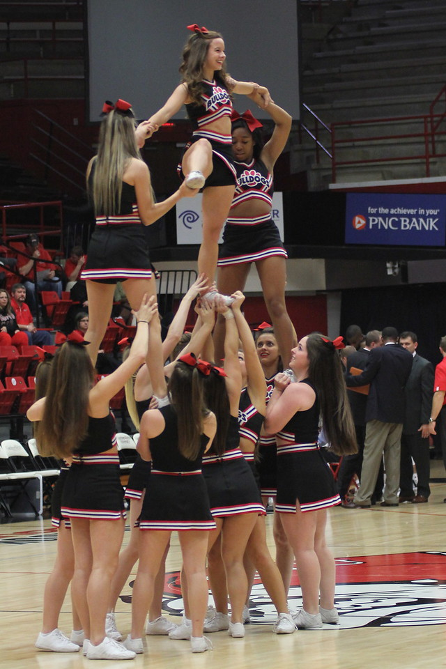 Cheerleaders providing some entertainment during the media timeout.