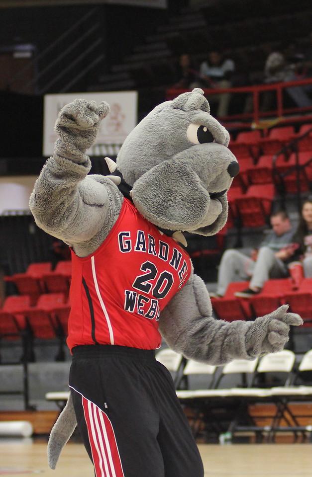 Mac our GWU Bulldog dances during a media timeout.