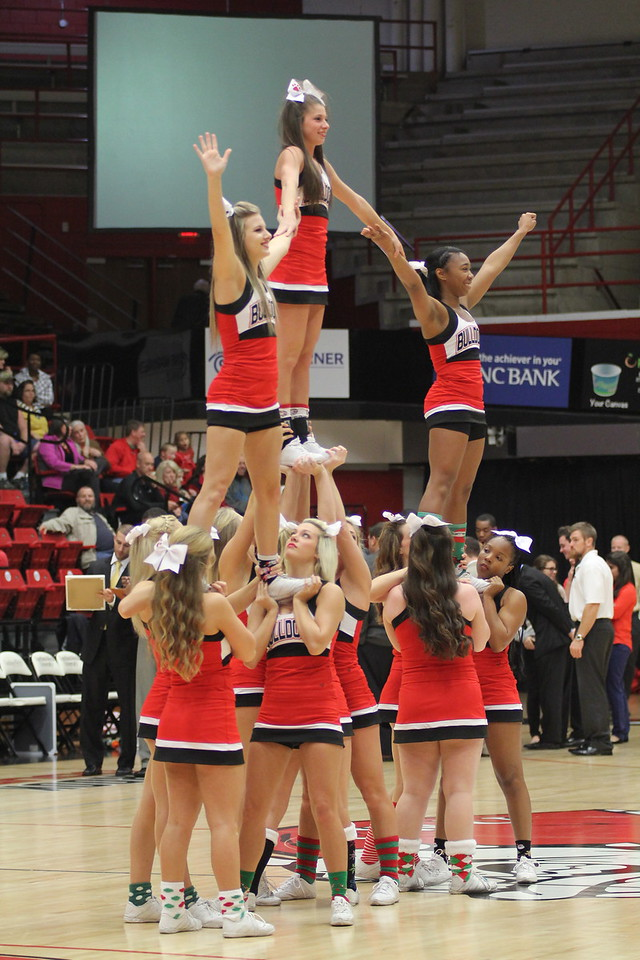 Cheerleaders entertaining the fans during timeout.