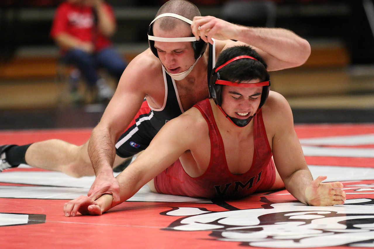 Wrestling 184 – Gray Jones (GWU) tech. fall Jake Koch (VMI), 18-3 – 28-6