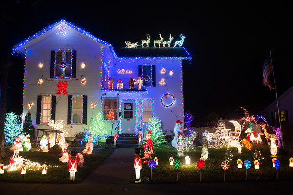 JOED VIERA/STAFF PHOTOGRAPHER-Lockport, NY-A home on Church Street is lit up with Christmas decorations. Friday, December 5, 2014.