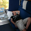 Nathan, age 12, tuned out in the family bedroom car, Coast Starlight.