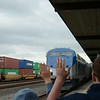 The Coast Starlight Engineer waves to Mara and Nathan, age 12. Ready for another trip to Disneyland.