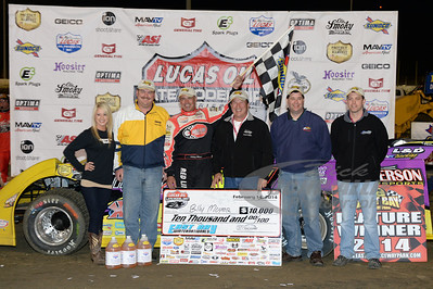 Billy Moyer in Victory Lane with Sunoco Representatives - Brian Bazell, Terry Thompson, Russ Bradford and Matt Miller with Zade Scarboro for Georgia Boot