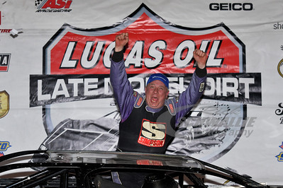 "Davey Johnson in Victory Lane for the Saturday Night show of ""38th annual Winternationals"" @ East Bay Raceway Park"