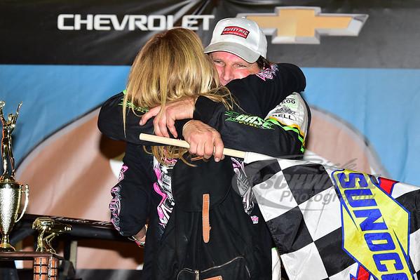 Scott Bloomquist in Victory Lane with wife - Katrina Bloomquist