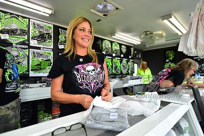Katrina Bloomquist working the Scott Bloomquist souvenir trailer