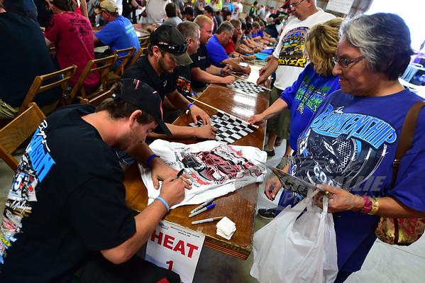 Fans getting autographs