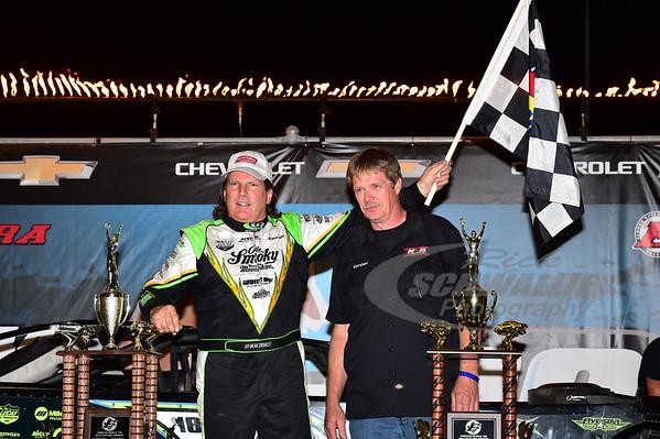 Scott Bloomquist in Victory Lane with Karsten Blume of KB Carburators